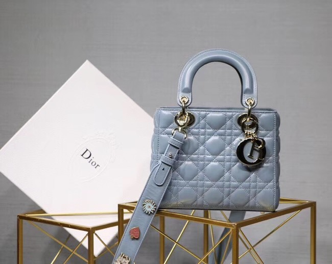 Dior lucky badges Original sheepskin Tote Bag A88035 sky blue