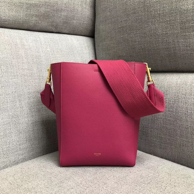 CELINE SANGLE SMALL BUCKET BAG IN SOFT GRAINED CALFSKIN 189303 ROSE