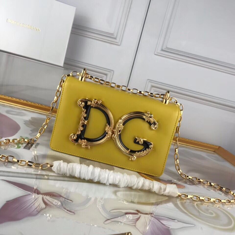 Dolce & Gabbana Original Leather Shoulder Bag BB6315 Yellow