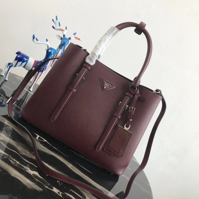 Prada Saffiano original Leather Tote Bag BN2838 Claret