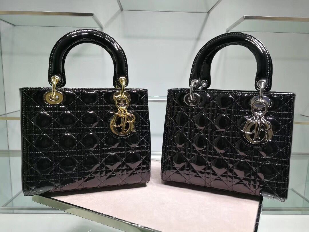 Lady Dior Bag Patent Cannage Calfskin Original Leather CAL44550 Black