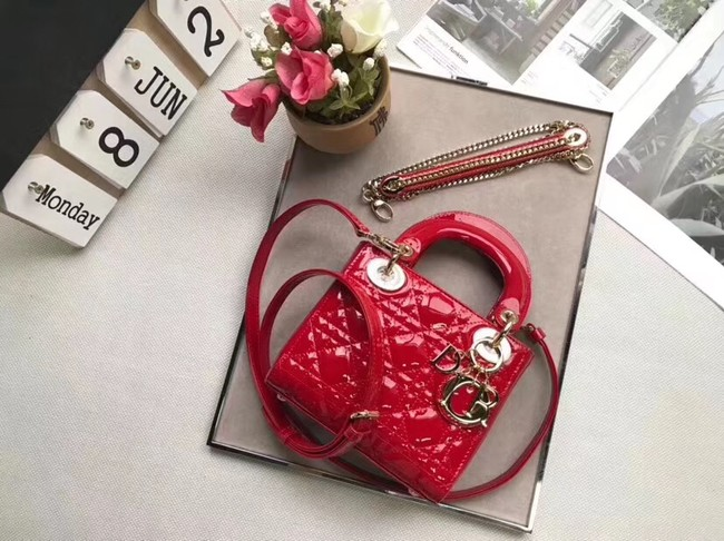 Dior MINI LADY DIOR CALFSKIN BAG M0505O cherry red