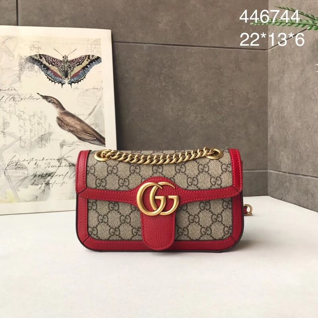 Gucci Ophidia GG Supreme small shoulder bag 446744 red