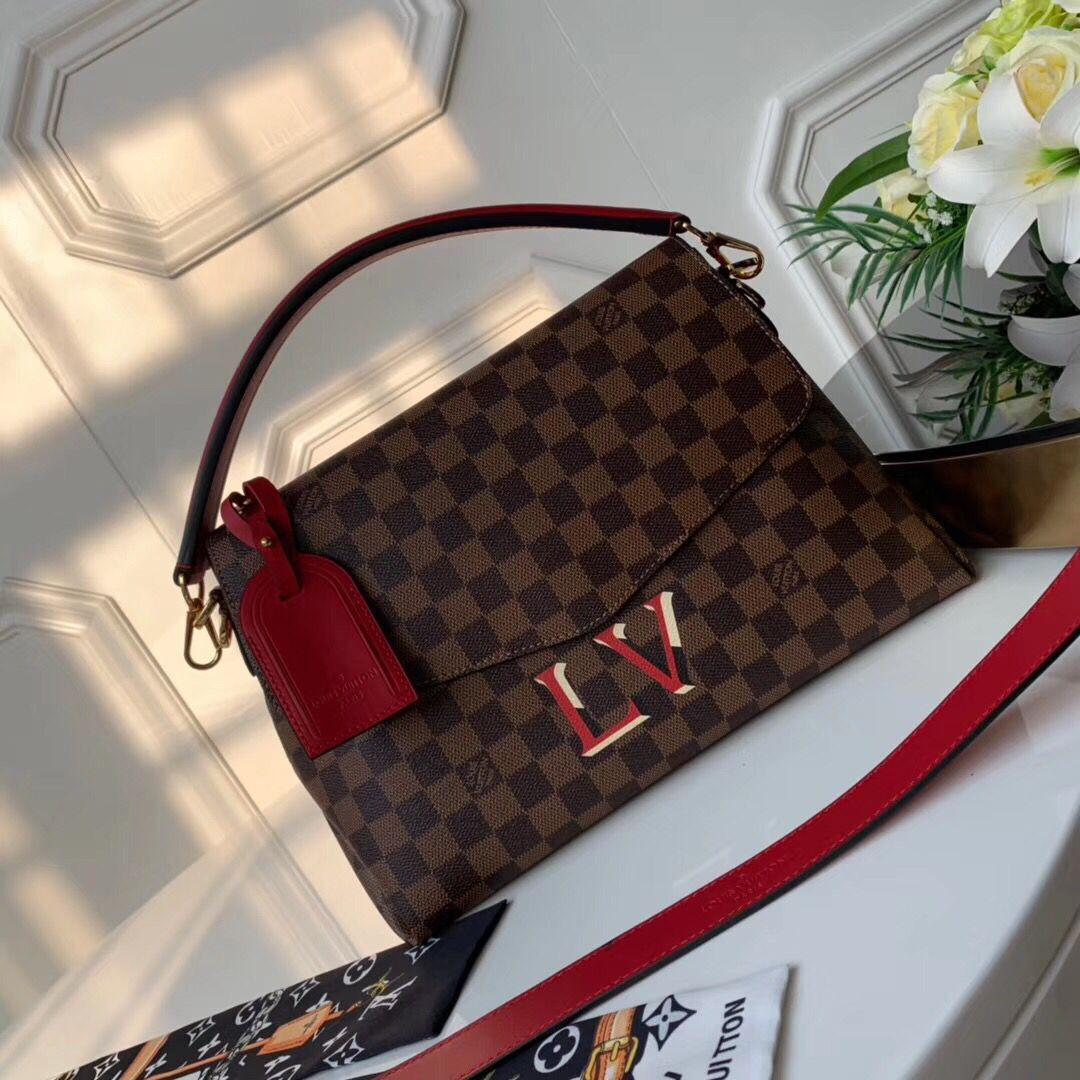 Louis Vuitton Damier Ebene Canvas Original Leather Beaubourg M40176 Red