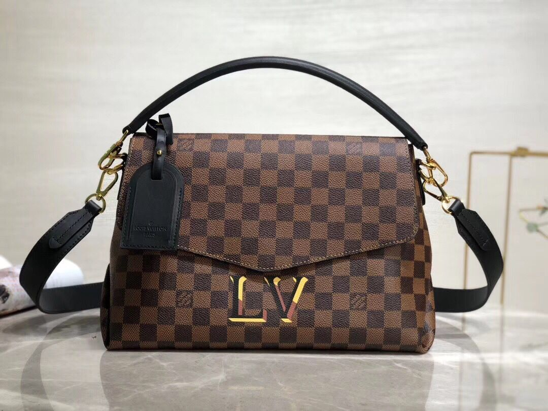 Louis Vuitton Damier Ebene Canvas Original Leather Beaubourg M40177 Black