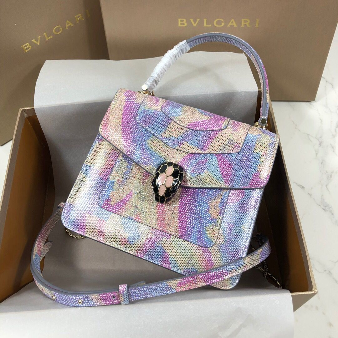 BVLGARI Serpenti Forever Metallic-leather Shoulder Bag 058962 Multicolor&Purple