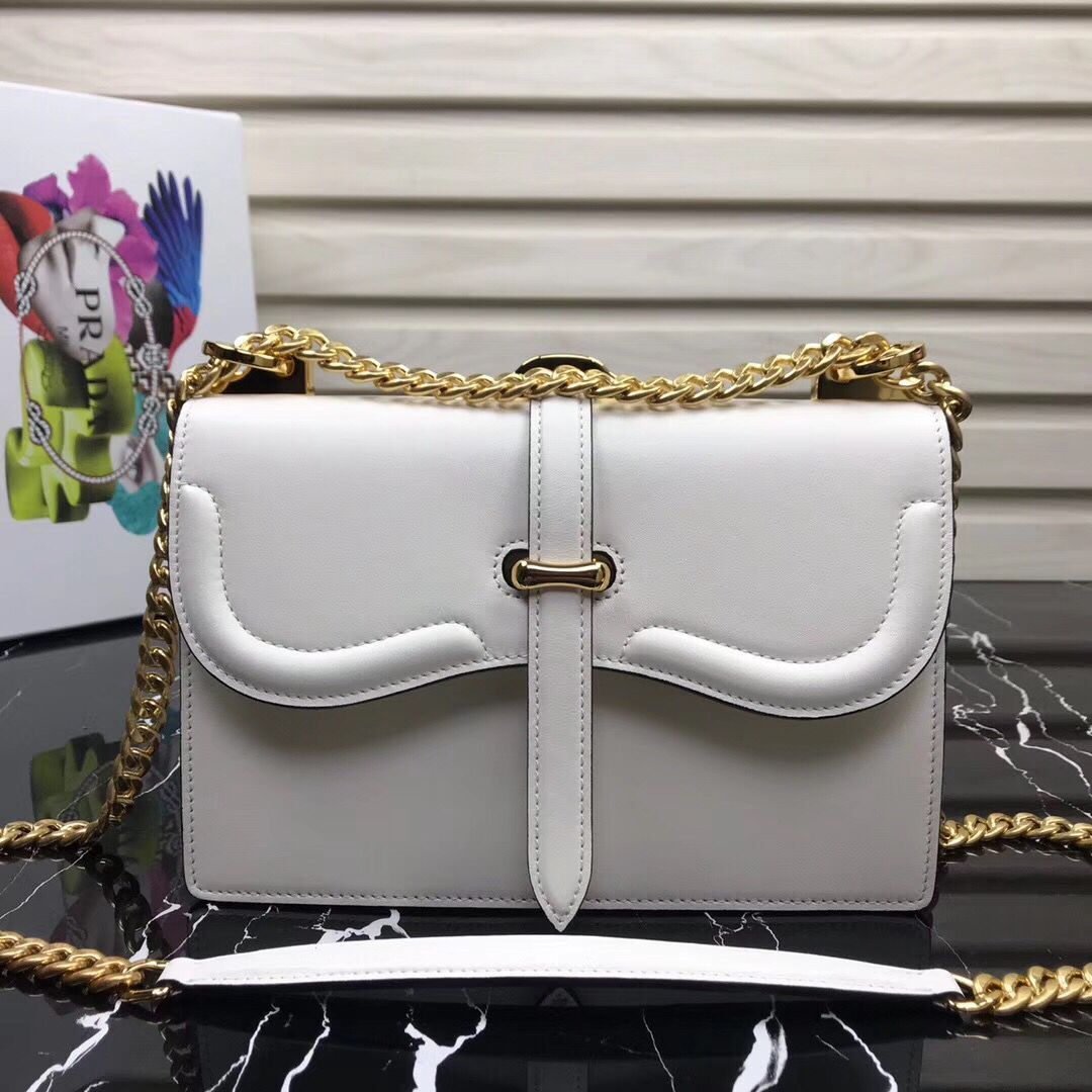 Prada Sidonie Leather Shoulder Bag 5677 White