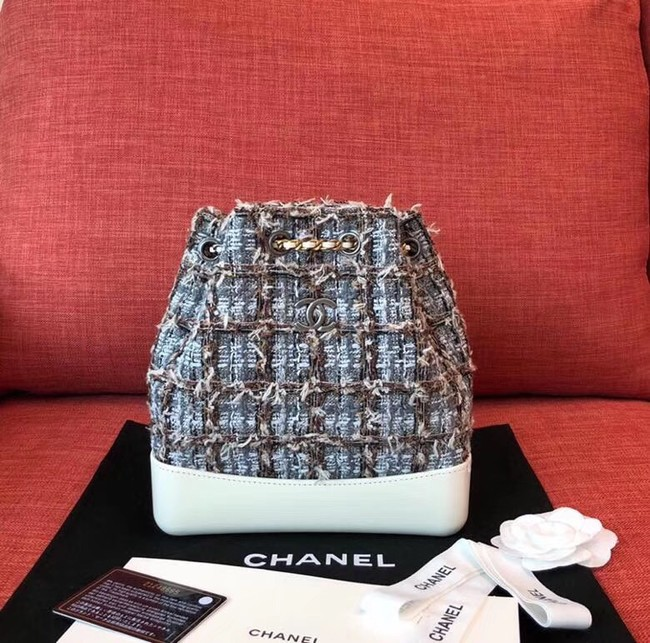 Chanel gabrielle Tweed small backpack A94485 white