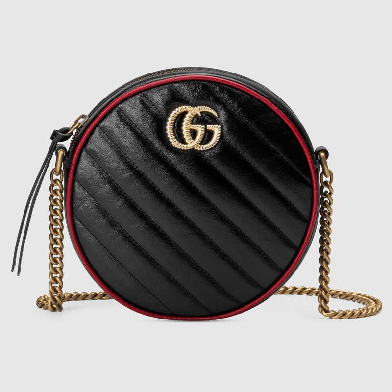 Gucci GG Marmont mini round shoulder bag 550154 black