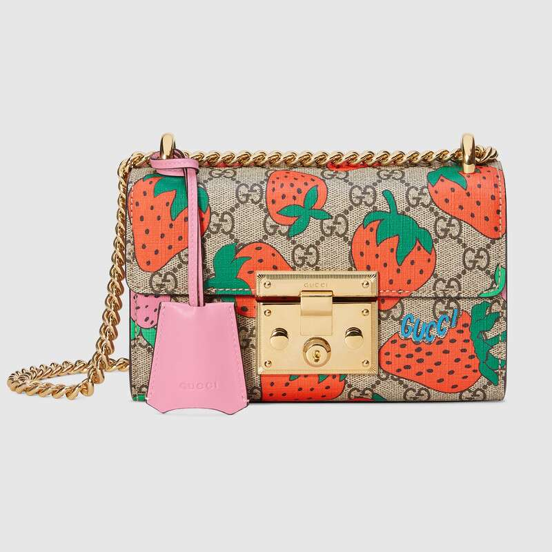 Gucci Padlock GG Strawberry small shoulder bag 409487 Strawberry print