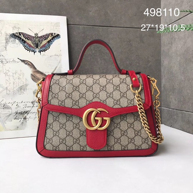 Gucci GG Marmont small top handle bag 498110 red
