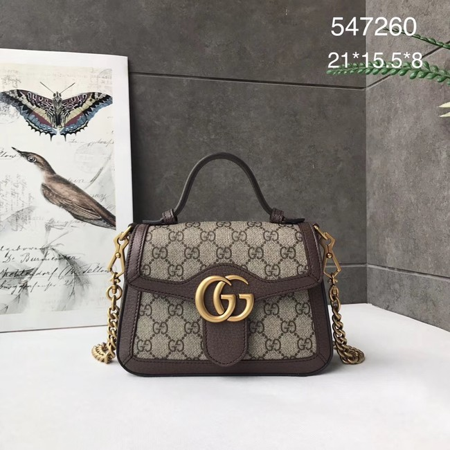 Gucci GG Marmont mini top handle bag 547260 brown