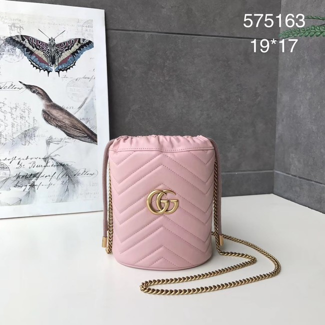Gucci GG Marmont mini bucket bag 575163 pink