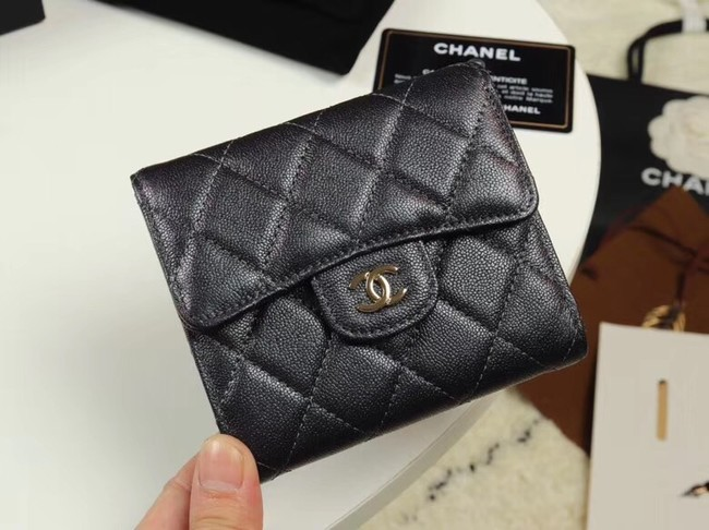 Chanel Calfskin Leather wallet & Gold-Tone Metal A82288 black