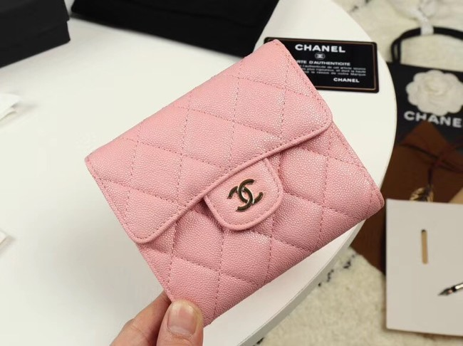 Chanel Calfskin Leather wallet & Gold-Tone Metal A82288 pink