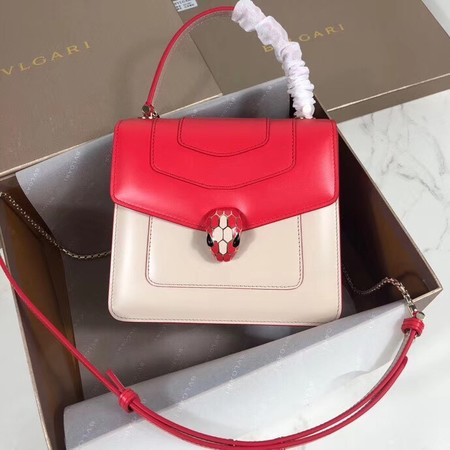 Bvlgari Serpenti Forever leather small crossbody bag 288687 red&white