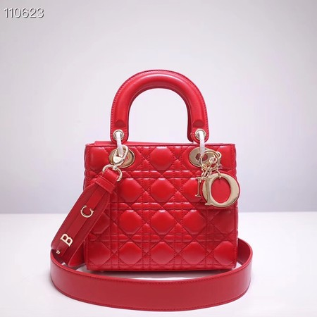 Dior lucky badges Original sheepskin Tote Bag A88035 red