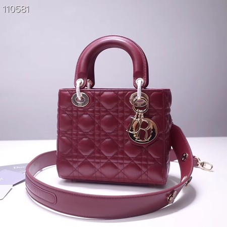 Dior lucky badges Original sheepskin Tote Bag A88035 burgundy