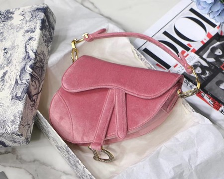 Dior MINI SADDLE BAG M447S Velvet pink