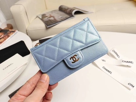 Chanel classic card holder AP0374 sky blue