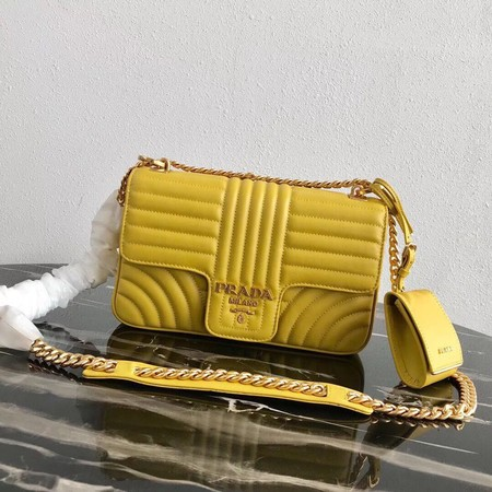 Prada Diagramme medium leather bag 1BD108 yellow