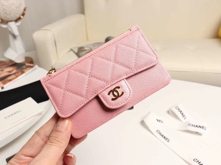 Chanel classic card holder AP0374 pink