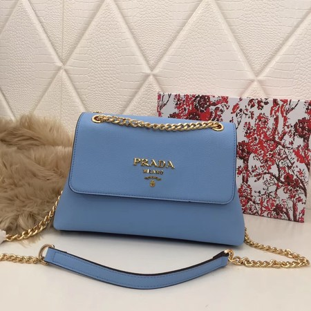 Prada Calf leather shoulder bag 82501 sky blue