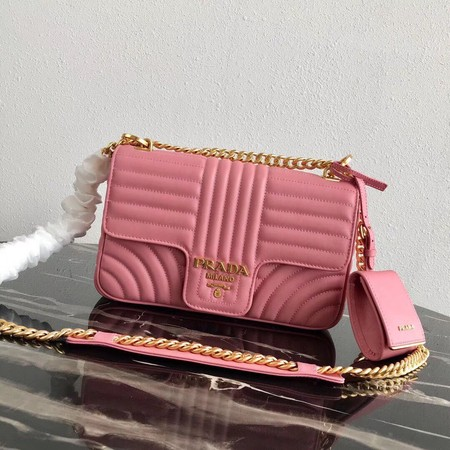 Prada Diagramme medium leather bag 1BD108 pink