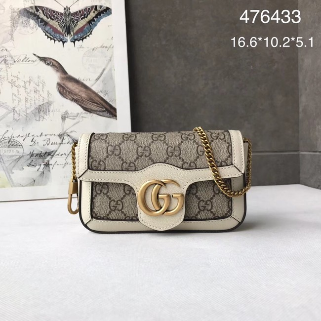 Gucci GG Supreme canvas 476433 Mini Shoulder Bag white