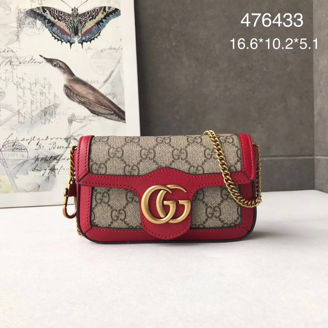 Gucci GG Supreme canvas 476433 Mini Shoulder Bag red