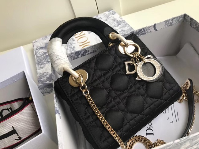 MINI LADY DIOR SATIN BAG M424 black
