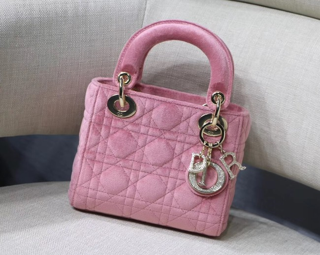 MINI LADY DIOR Velvet BAG M424 Pink
