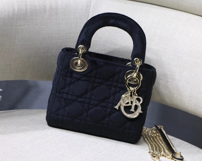 MINI LADY DIOR Velvet BAG M424 black