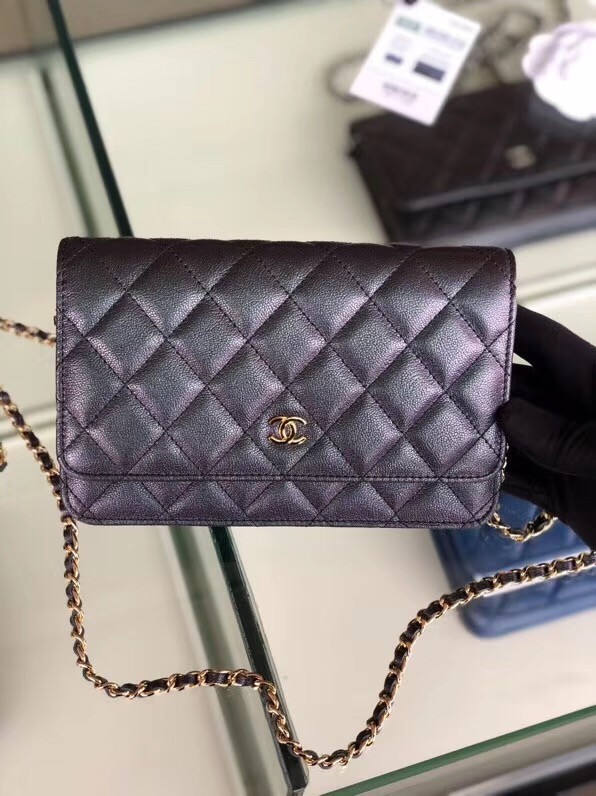 Chanel classic wallet on chain Grained Calfskin & gold-Tone Metal 33814 Pearlescent black