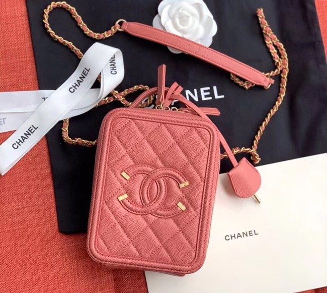 Chanel vanity case Grained Calfskin & Gold-Tone Metal AS0988 pink