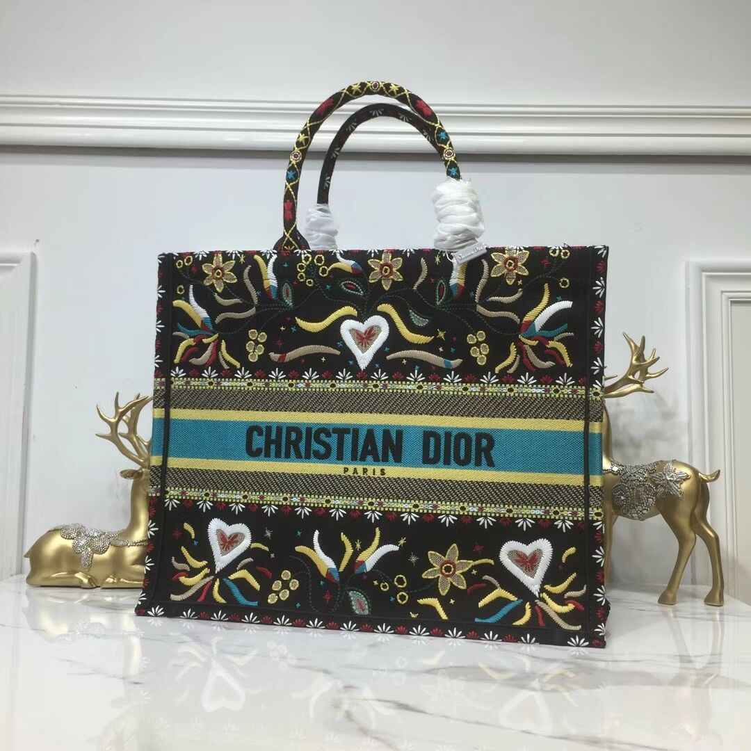 DIOR BOOK TOTE BAG IN EMBROIDERED CANVAS C1286 Black