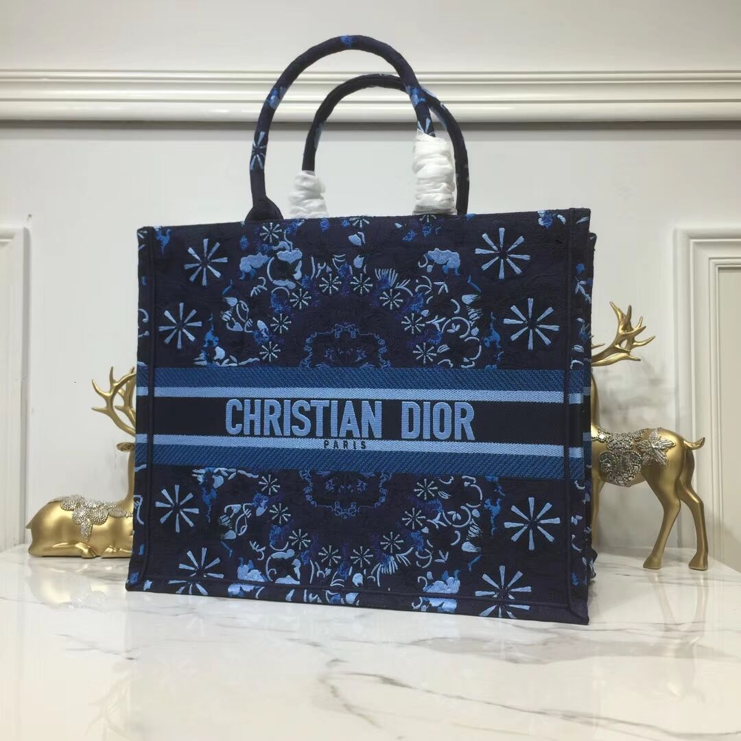 DIOR BOOK TOTE BAG IN EMBROIDERED CANVAS C1286 Navy