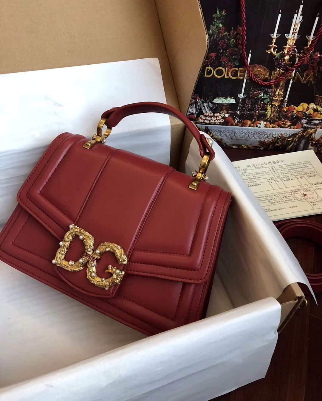 Dolce & Gabbana Origianl Leather Bag 4916 Red
