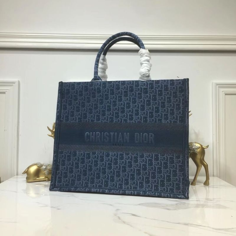 DIOR BOOK TOTE BAG IN EMBROIDERED CANVAS C1286 Blue