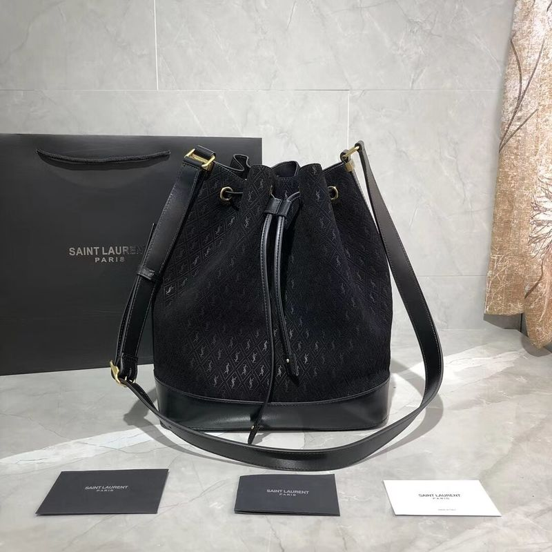 Yves Saint Laurent Black Matte Leather Bucket Bag Y568606 Black
