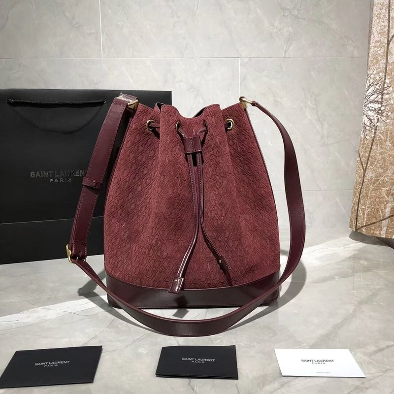 Yves Saint Laurent Black Matte Leather Bucket Bag Y568606 Wine