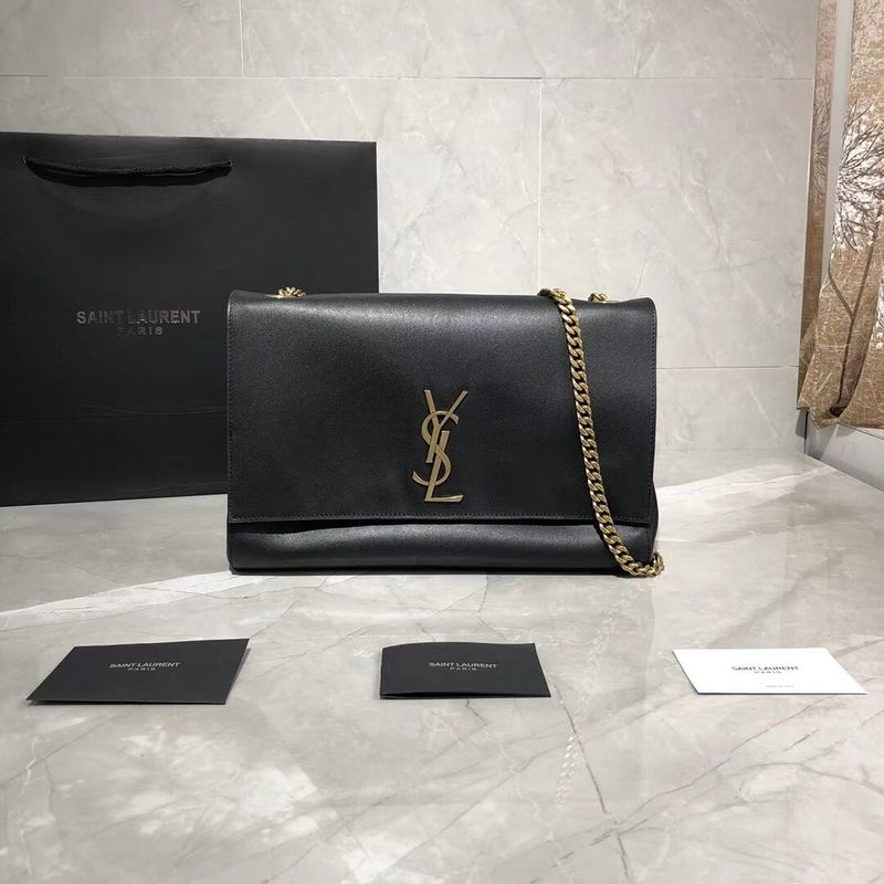 Yves Saint Laurent Double Skin Use Original Leather Shoulder Bag Y553804 Black