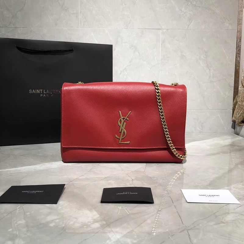 Yves Saint Laurent Double Skin Use Original Leather Shoulder Bag Y553804 Red