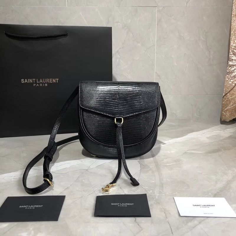 Yves Saint Laurent Lizard Leather Shoulder Bag Y551559 Black