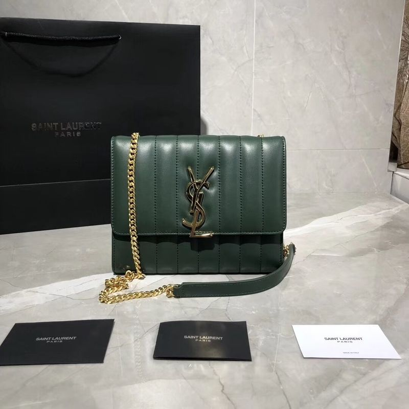 Yves Saint Laurent Sheepskin Original Leather Shoulder Bag Y554125 Green