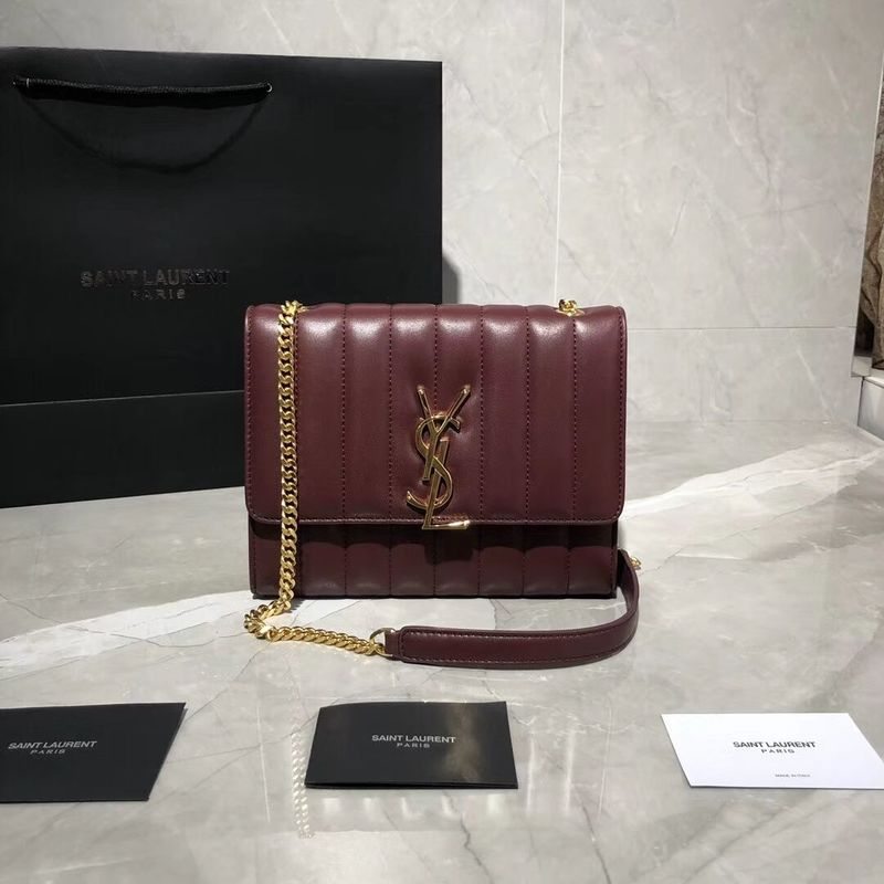 Yves Saint Laurent Sheepskin Original Leather Shoulder Bag Y554125 Wine