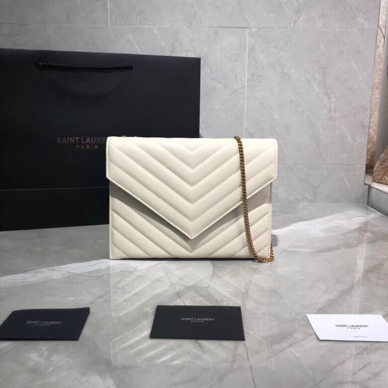 Yves Saint Laurent Shoulder Bag Original Leather Y569267 White