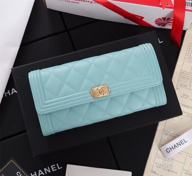 Chanel Calfskin Leather & Gold-Tone Metal A80286 sky blue