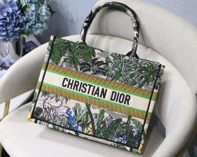 DIOR BOOK TOTE BAG IN EMBROIDERED CANVAS C1287 green