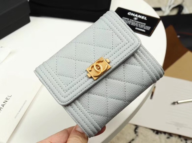 Chanel Calfskin Leather & Gold-Tone Metal A80734 grey